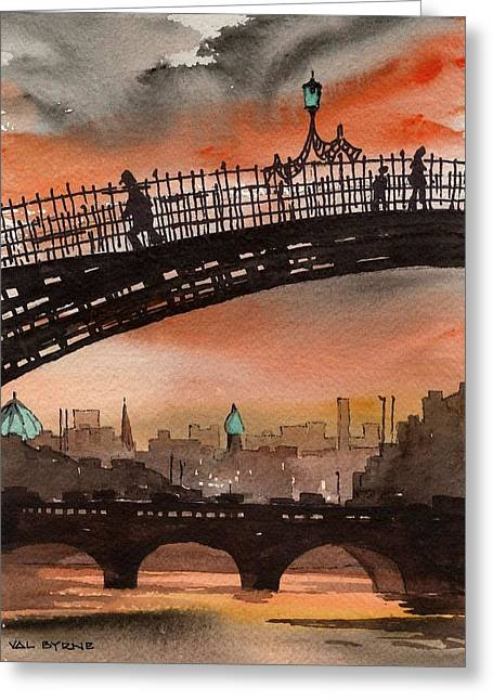 Livia Greeting Cards - Liffey Sunset Greeting Card by Val Byrne
