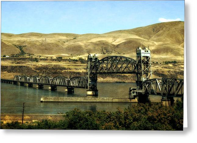 Pacific Northwest Digital Art Greeting Cards - Lift Bridge over the Columbia River Greeting Card by Michelle Calkins