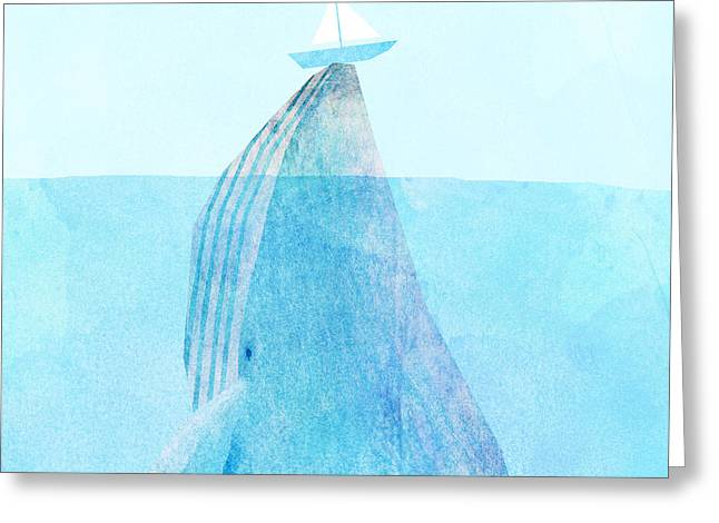 Whale Drawings Greeting Cards - Lift Greeting Card by Eric Fan