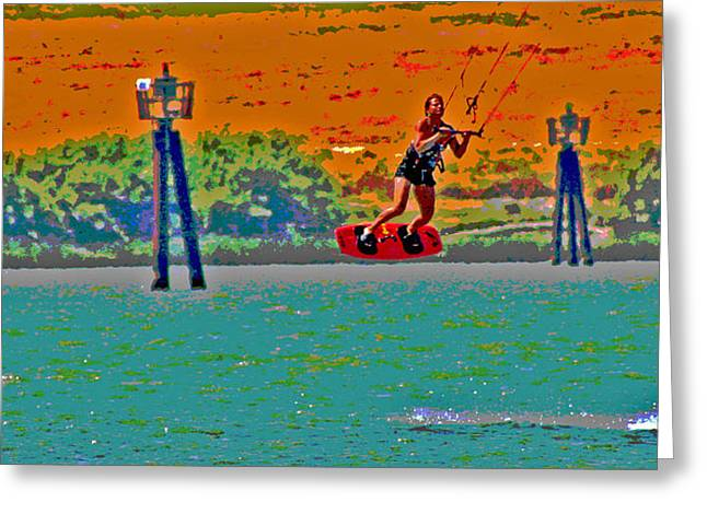 Kite Boarding Digital Art Greeting Cards - Lift Off on the Delta Greeting Card by Joseph Coulombe