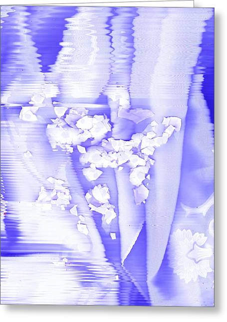 White Cloth Greeting Cards - Lifting Lavender-Blue and White Greeting Card by Anne-Elizabeth Whiteway