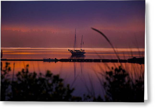 Framed Whidbey Prints Greeting Cards - Lifting Morning Fog Greeting Card by Ron Roberts
