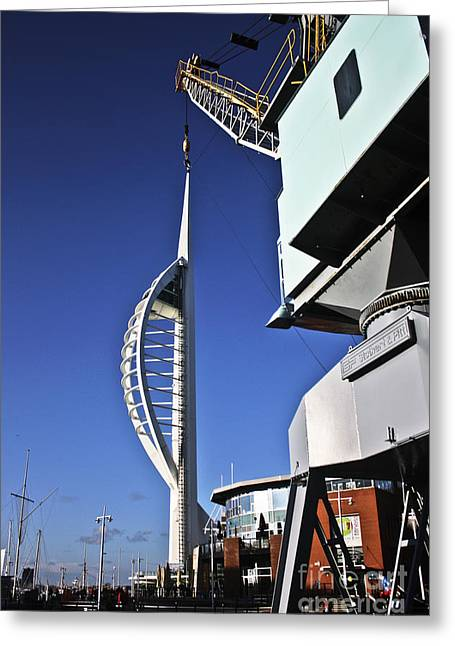 Lifting Portsmouth's Spinnaker Tower Greeting Card by Terri Waters