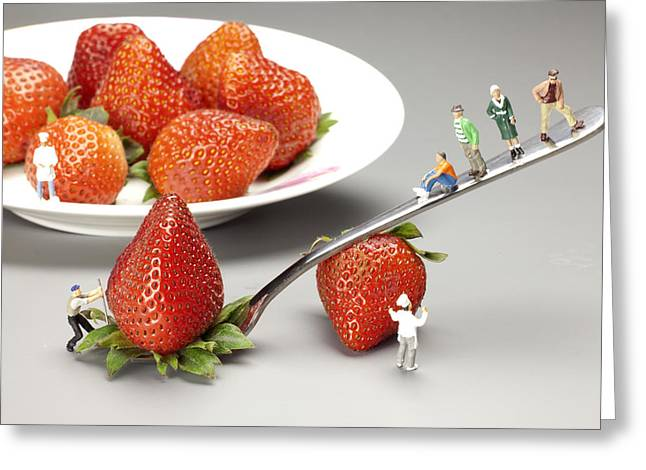 Creative People Greeting Cards - Lifting strawberry by a fork lever food physics Greeting Card by Paul Ge