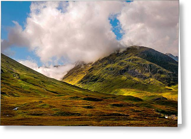 Highlands Of Scotland Greeting Cards - Ligh over Glencoe. Scotland Greeting Card by Jenny Rainbow
