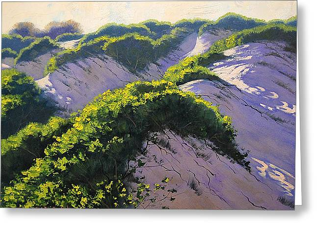 Sand Dunes Paintings Greeting Cards - Light Across The Dunes Greeting Card by Graham Gercken