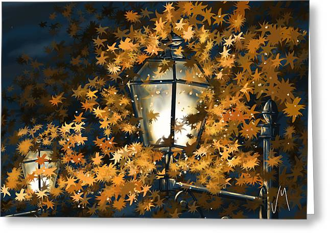 Autumn Digital Art Greeting Cards - Light among the leaves Greeting Card by Veronica Minozzi