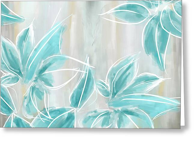 Aqua Blue Greeting Cards - Light And Airy Greeting Card by Lourry Legarde
