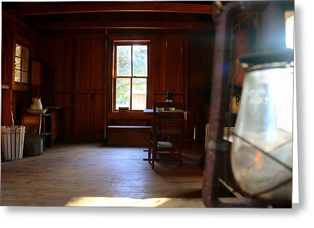 Oil Lamp Greeting Cards - Light and cabin Greeting Card by David Lee Thompson