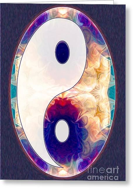 Best Sellers -  - Ying Greeting Cards - Light And Dark Energies Abstract Symbol Art by Omaste Witkowski Greeting Card by Omaste Witkowski