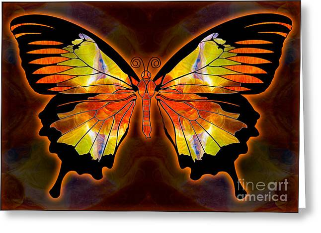 Abstract Digital Mixed Media Greeting Cards - Light and Flight Abstract Butterfly Art by Omaste Witkowski  Greeting Card by Omaste Witkowski