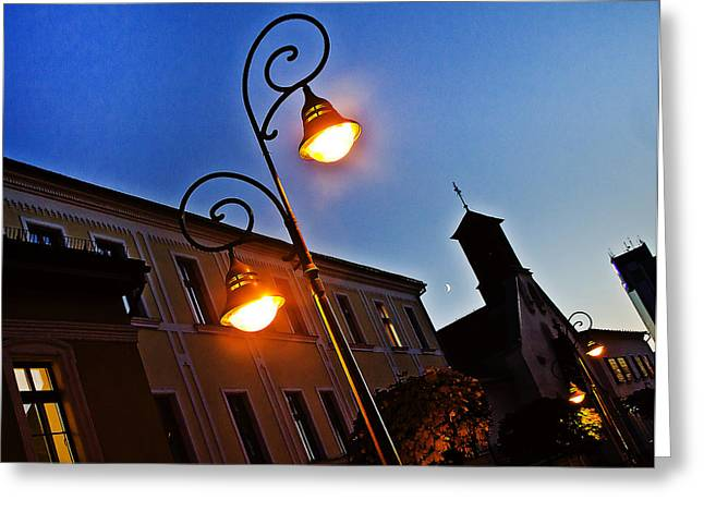 Night Lamp Greeting Cards - Light and Moon in B.Bystrica Greeting Card by Alex Art