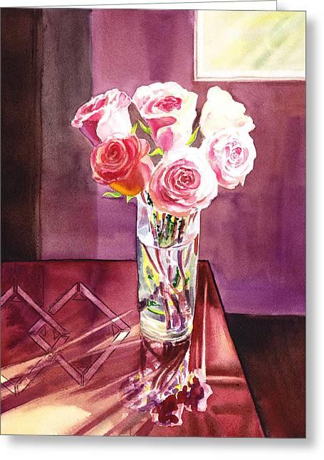Light And Roses Impressionistic Still Life Greeting Card by Irina Sztukowski