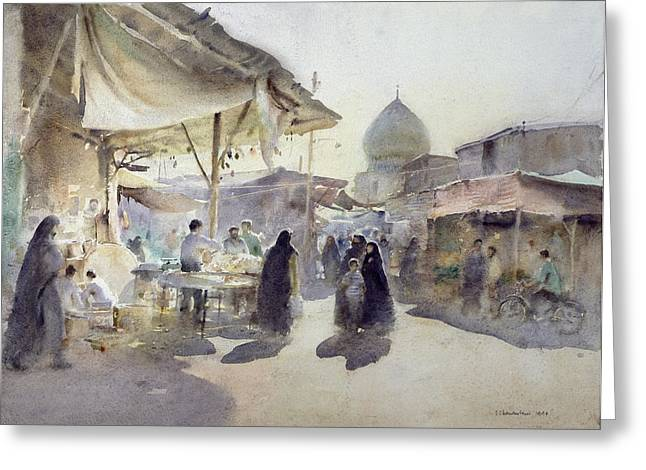 Onion Dome Greeting Cards - Light And Shade, Shiraz Bazaar, 1994 Wc On Paper Greeting Card by Trevor Chamberlain