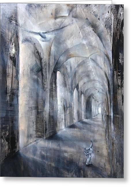 Church Pillars Paintings Greeting Cards - Light and Shadow Greeting Card by Annette Schmucker