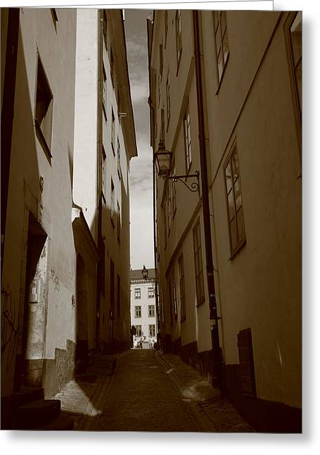 Buildings And Narrow Lanes Greeting Cards - Light and shadow in a narrow alley - monochrome Greeting Card by Intensivelight