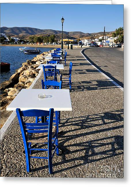 Harbor Greeting Cards - Light and shadow in Ios island Greeting Card by George Atsametakis
