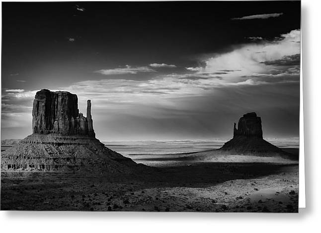 Digital Photography Greeting Cards - Light and Shadows in Monument Valley Greeting Card by Jesse Castellano