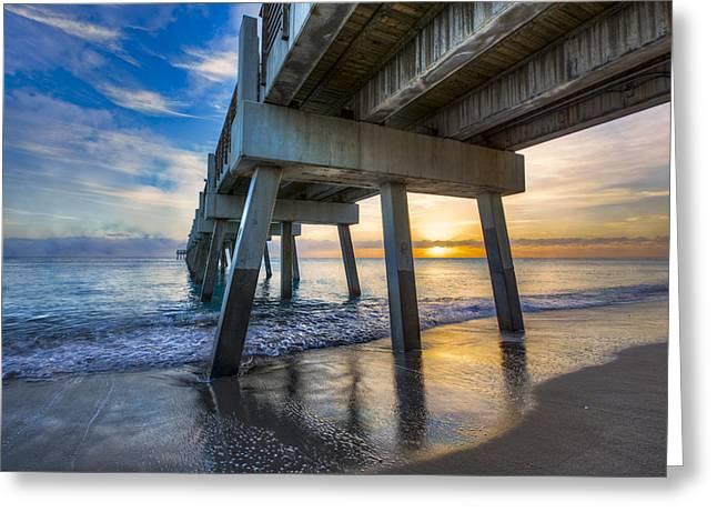 Florida Bridge Greeting Cards - Light at Dawn Greeting Card by Debra and Dave Vanderlaan