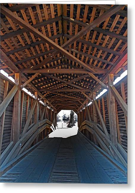 Covered Bridge Greeting Cards - Light At The End Of The Bridge Greeting Card by Skip Willits