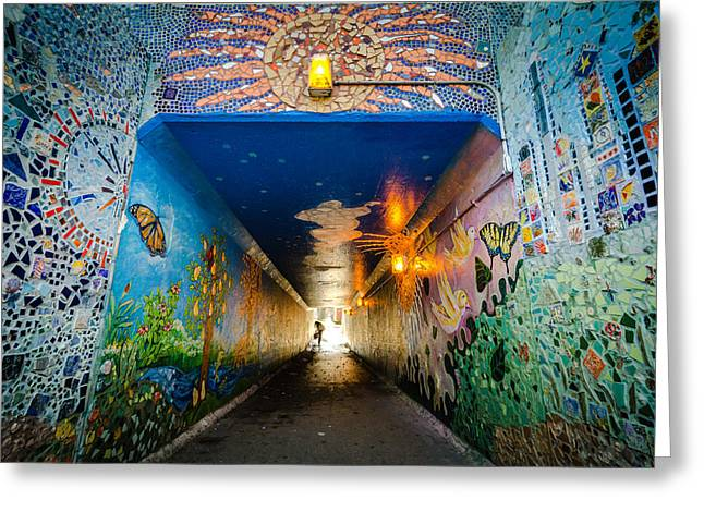 Metra Greeting Cards - Light at the End of the Colorful Tunnel Greeting Card by Anthony Doudt