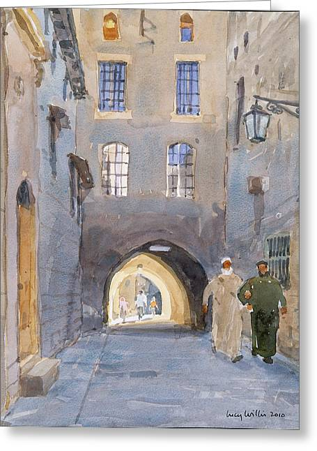 Syrian Greeting Cards - Light At The End Of The Tunnel, 2010 Wc On Paper Greeting Card by Lucy Willis