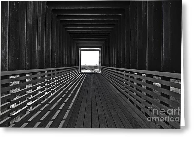 Wooden Platform Greeting Cards - Light At The End Of The Tunnel Greeting Card by Lynne Sutherland
