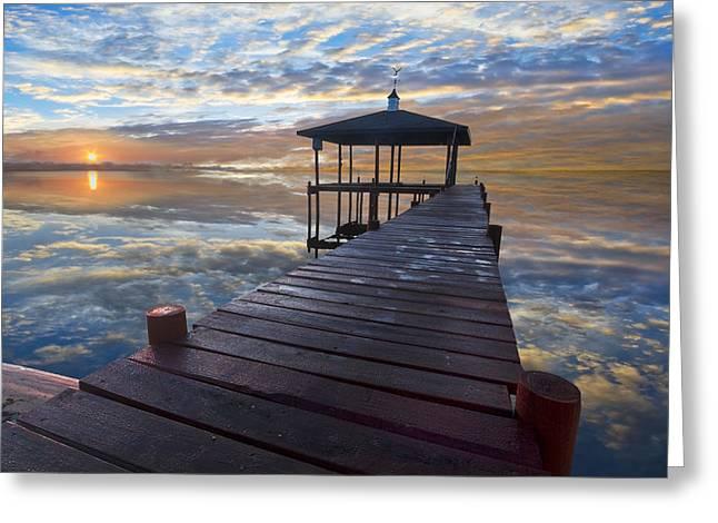 Light At The Lake Greeting Card by Debra and Dave Vanderlaan