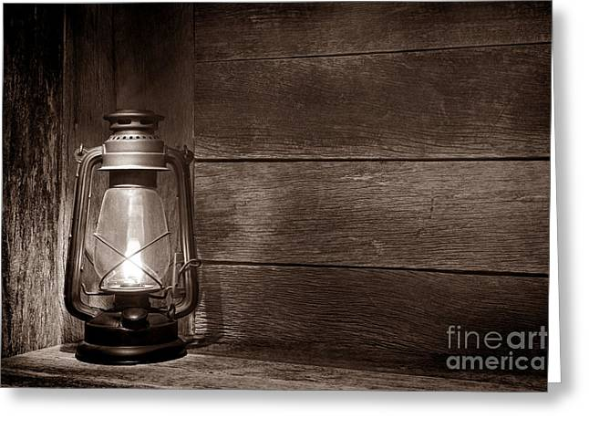 Kerosene Lamp Greeting Cards - Light at the Ranch  Greeting Card by American West Legend By Olivier Le Queinec