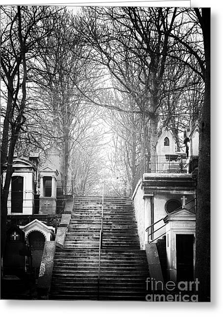 Cemeteries Of Paris Greeting Cards - Light at the Top Greeting Card by John Rizzuto