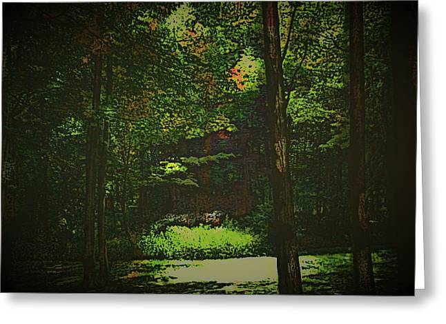 Fall Photos Paintings Greeting Cards - Light Beam Greeting Card by Michael James Greene