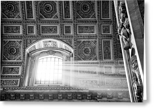 Decorate Greeting Cards - Light Beams in St. Peters Basillica Greeting Card by Susan  Schmitz