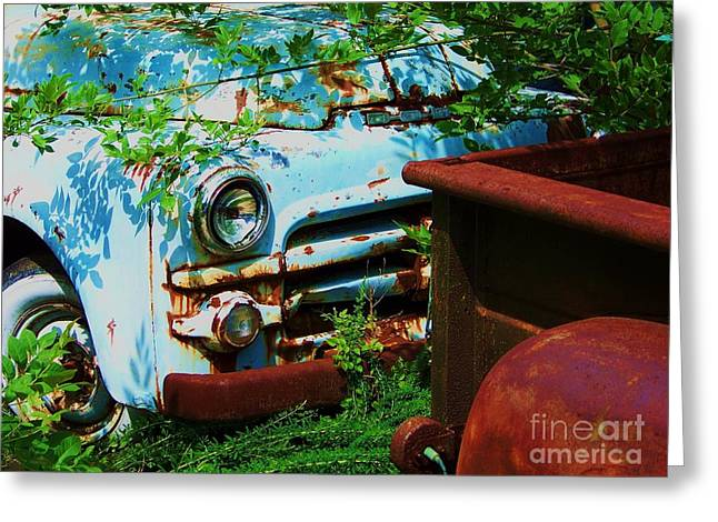 Rusted Cars Greeting Cards - Light Blue Greeting Card by Chuck  Hicks