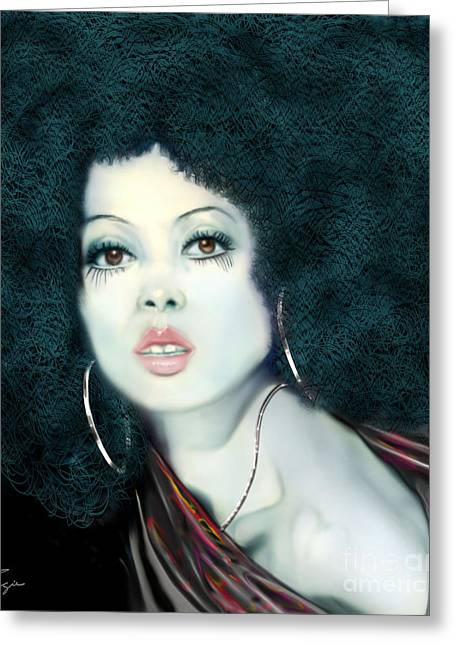 Diana Ross Greeting Cards - Light Blue Diana Ross-2a Greeting Card by Reggie Duffie