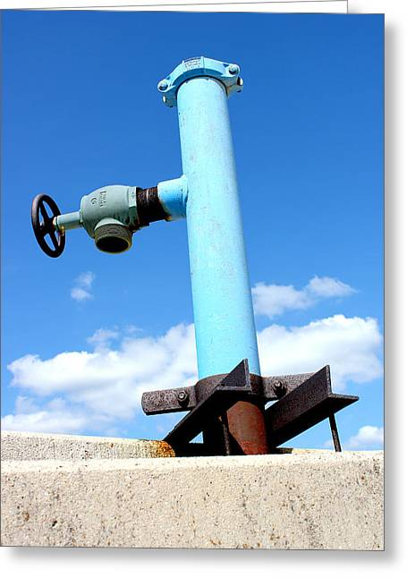 City Lights Greeting Cards - Light Blue Pipe Industrial Decay Series No 005 Greeting Card by Design Turnpike