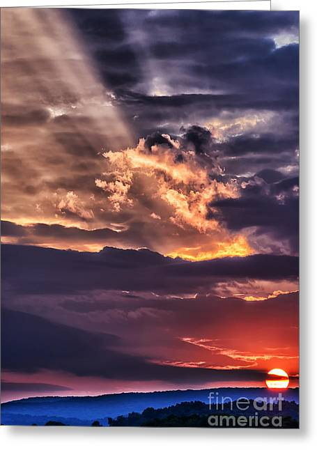 Colorful Cloud Formations Greeting Cards - Light Breaks through Clouds Sunrise Greeting Card by Thomas R Fletcher