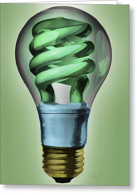 Concept Paintings Greeting Cards - Light Bulb Greeting Card by Bob Orsillo