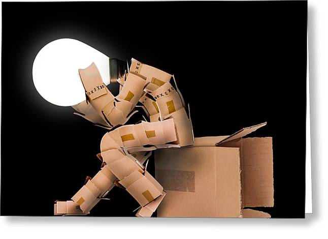 Cardboard Greeting Cards - Light bulb box man character Greeting Card by Simon Bratt Photography LRPS