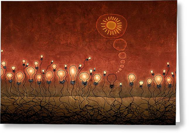 Lighter Greeting Cards - Light Bulb God Greeting Card by Gianfranco Weiss