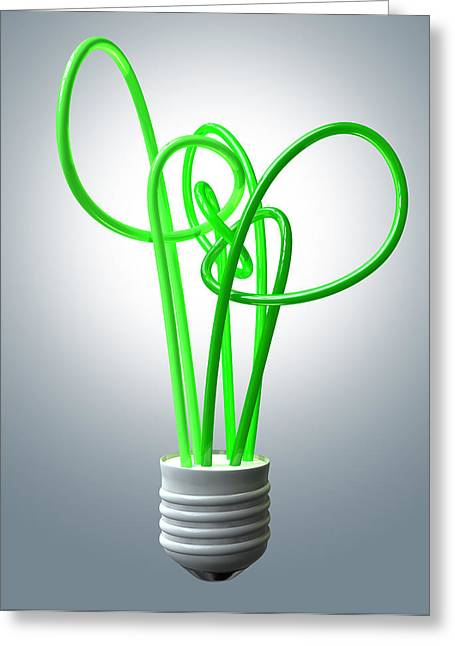 Climate Change Greeting Cards - Light Bulb Green Energy Flourescent Greeting Card by Allan Swart