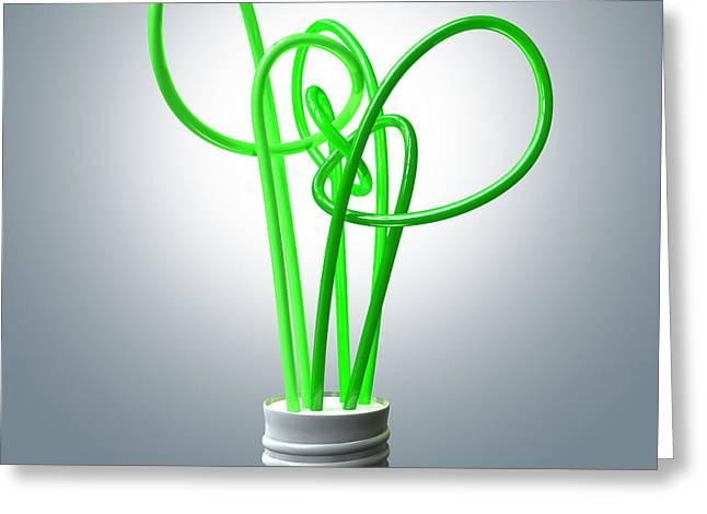 Light Bulb Green Energy Flourescent Greeting Card by Allan Swart