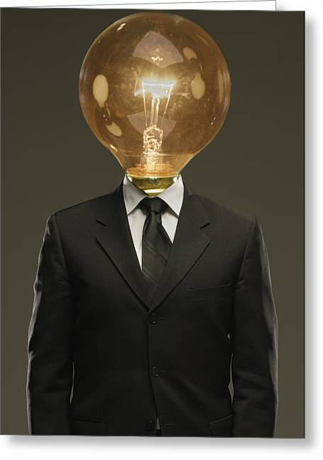 Concept Image Greeting Cards - Light Bulb Head Greeting Card by Darren Greenwood