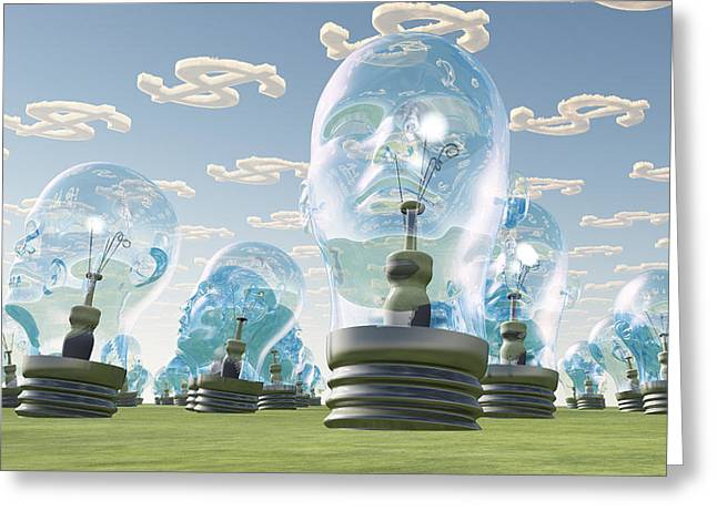 Human Intellect Greeting Cards - Light Bulb heads and dollar symbol clouds Greeting Card by Bruce Rolff