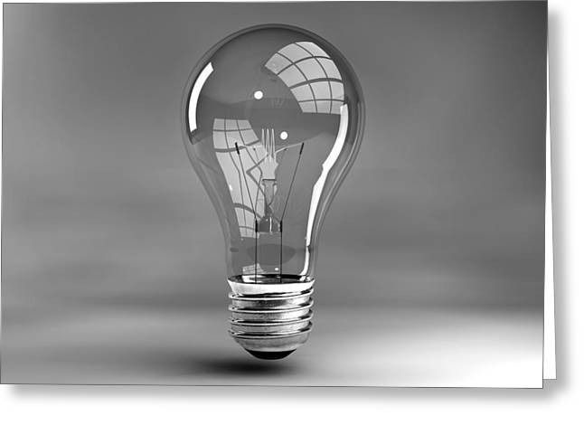 Electrical Digital Art Greeting Cards - Light Bulb In Studio Greeting Card by Allan Swart