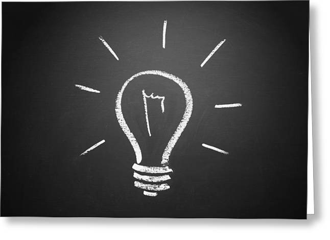 Lights Greeting Cards - Light Bulb on a Chalkboard Greeting Card by Chevy Fleet
