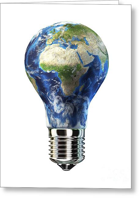 Out Of Africa Greeting Cards - Light Bulb With Planet Earth Greeting Card by Leonello Calvetti