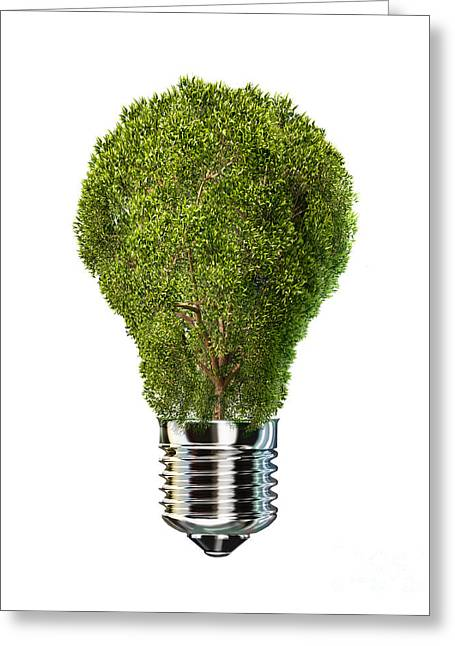 Tree Planting Ideas Greeting Cards - Light Bulb With Tree Inside Glass Greeting Card by Leonello Calvetti