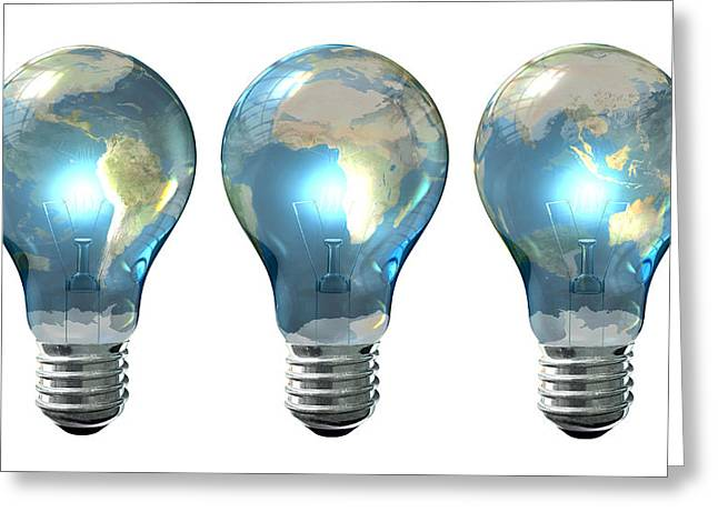 Light Bulb World Globe Series Greeting Card by Allan Swart
