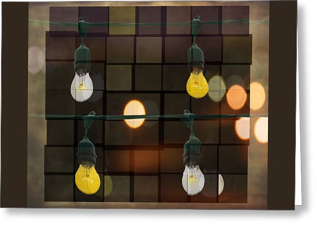 Green And Yellow Abstract Greeting Cards - Light Bulbs Greeting Card by Steven  Michael