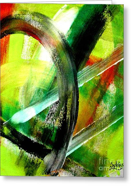 Canvas Framing Paintings Greeting Cards - Light Burst 2 Greeting Card by Sylvie Heasman
